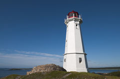 Lighthouse. On the rocky area located on the Atlantic Ocean Royalty Free Stock Photos