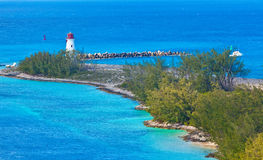 Lighthouse. On the tip of Paradise Island, Bahamas Royalty Free Stock Photos