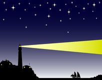 Lighthouse. Vector illustration of a lighthouse in the evening Stock Photos