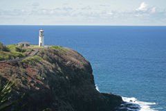 Lighthouse. On a bluff overlooking ocean Stock Images