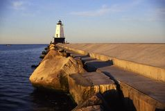 Lighthouse. Ludington Lighthouse and beach on Lake Mighigan Royalty Free Stock Photo