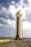 The lighthouse. White and red lighthouse on Bonaire stock photos