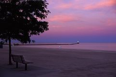 Lighthouse. Ludington Lighthouse and beach on Lake Mighigan Stock Photography