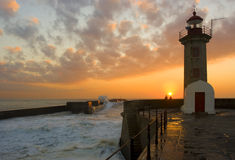 Lighthouse. At sunset in Oporto city - Portugal Stock Image