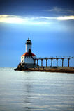 Lighthouse. Pier on lake michigan in Michigan City, Indiana Royalty Free Stock Image