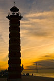 Lighthouse. Old lighthouse on river Tagus in Bel�m district of Lisbon Royalty Free Stock Photography