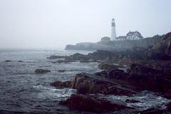 Lighthouse. On a misty day Stock Photo