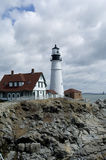 Lighthouse. Portland Headlight lighthouse at Fort Williams in Cape Elizabeth, Maine Royalty Free Stock Photography
