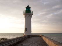Lighthouse. In Normandy, France. St. Vallery en caux royalty free stock photos