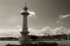 Lighthouse on Lake Geneva stock images