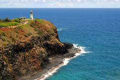 Lighthouse. Overlooking the ocean on a cliff in Hawaii Stock Photography