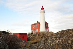 Lighthouse. A historic lighthouse at seashore, it is the first lighthouse built in vancouver island in 1860, victoria, british columbia, canada Stock Photography