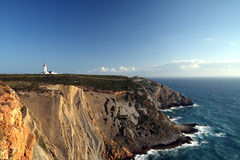 Lighthouse. At cape located at Peniche, Portugal royalty free stock image