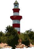 Lighthouse. Red and white lighthouse guarding the harbour Royalty Free Stock Photography