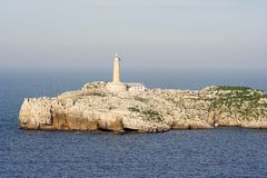 Lighthouse. Of the island , Santander, Cantabria, Spain Stock Photography