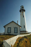 Lighthouse. Pigeon Point lighthouse and house with white picket fence - California stock photos