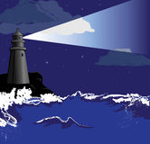Lighthouse. Vector illustration of lighthouse in the night Stock Photo