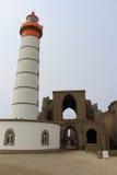 Lighthouse and abbey of Pointe Saint Mathieu Stock Photos