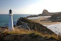 Lighthouse above coast line royalty free stock image