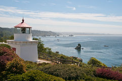 Lighthouse Above Trinidad Bay. This midday shot was taken of the lighthouse overlooking Trinidad Bay in northern California Royalty Free Stock Photos