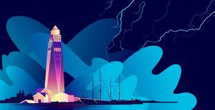 Lighthouse abstract banner. Horizontal vector illustration, abstract banner, concept, Lighthouse in bad weather, huge waves, in retro style, template for a royalty free illustration