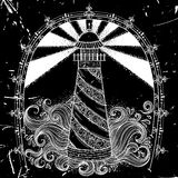 Lighthouse with abstract waves on black grunge background. Vintage hand drawn vector illustration royalty free illustration