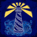 Lighthouse with abstract waves on grunge background. Vintage hand drawn vector illustration royalty free illustration