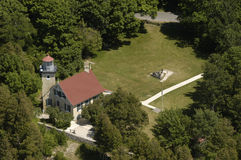 Lighthouse Aerial View. Lighthouse photographed during a fly by from an airplane. This is the Potawatomie Lighthouse in Door County, Wisconsin, on Lake Michigan royalty free stock image