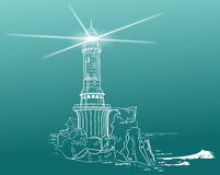 Lighthouse. Aid to navigation It shows the danger to vessels vector illustration