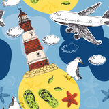 Lighthouse and airplane pattern Stock Image