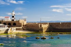 Lighthouse in Akko Stock Image