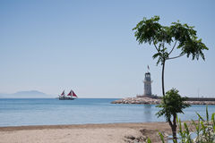 Lighthouse in Alanya, Turkey. View on a Alanya lighthouse from the beach Royalty Free Stock Photography