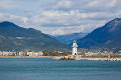 The lighthouse in Alanya, Turkey Royalty Free Stock Images