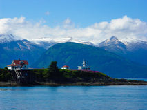 Lighthouse on Alaskan Inland Passage Royalty Free Stock Photography