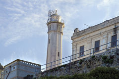 Lighthouse on Alcatraz Island in San Francisco stock images