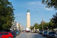 Lighthouse of Alexandroupolis city. ALEXANDROUPOLIS, GREECE - OCT 11: The lighthouse of Alexandroupolis city in Greece. The lighthouse is in the picturesque part Stock Images