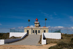 The lighthouse in Algarve, Portugal Royalty Free Stock Images