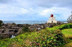 Lighthouse along the Wild Pacific Trail, Vancouver Island, BC, Canada Stock Photos