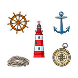 Lighthouse, anchor, compass, rope, steering wheel. Set of nautical objects - lighthouse, anchor, compass, rope and steering wheel, cartoon vector illustration Stock Images