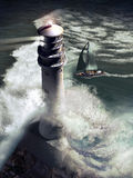 Lighthouse And Sailboat Stock Photo