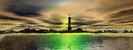 Lighthouse And Sea (panoramic) Royalty Free Stock Photo