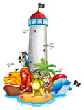 Lighthouse and animals Stock Image