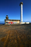 Lighthouse and arrecife teguise lanzarote spain Stock Photography
