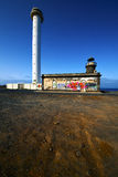Lighthouse and arrecife uise lanzarote spain Royalty Free Stock Photos