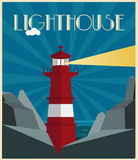 Lighthouse  art deco style Royalty Free Stock Photos