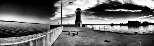 Lighthouse. Artistic look in black and white. Royalty Free Stock Images