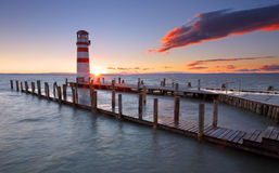 Lighthouse At Lake Neusiedl At Sunset Stock Photography