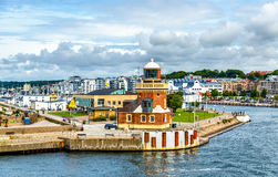 Free Lighthouse At The Port Of Helsingborg - Sweden Royalty Free Stock Image - 78724336