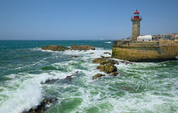 Lighthouse on the Atlantic Ocean coast Stock Photo