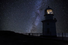 Lighthouse on the background of a starry sky. Royalty Free Stock Photo